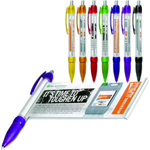 click action banner pen in clear plastic with a range of coloured contrast colours