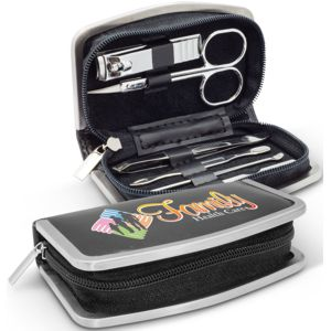 maincure set in black zippered case with silver trim, includes 6 tools