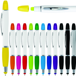 popular shape white plastic pen with contrast colour stylus nib & grup, also features yellow wax highlighter in lid section