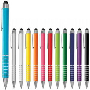 bold coloured metal stylus pen with metal ring contrast bands