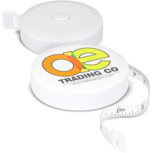 round white1.5m tape measure with black markings and a custom logo print