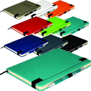 exceptional quality A5 notebook with coordinating metal pen in a range of terrific colours