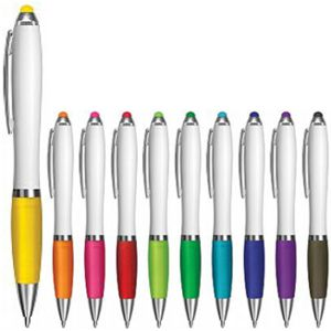 white barrel plastic pen with contrast grip & matching stylus