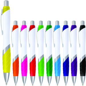 white plastic barrel click action pen with contrast colour rubberised grip