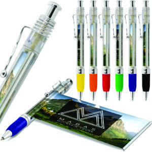 clear plastic banner pen with unique ultra modern metal clip & contrast rubber grip
