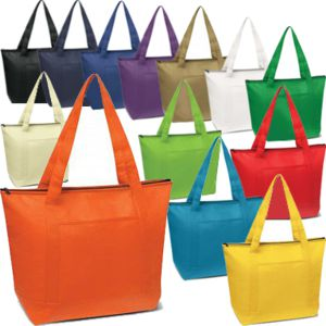 non woven cooler bag shown in a large range of colours