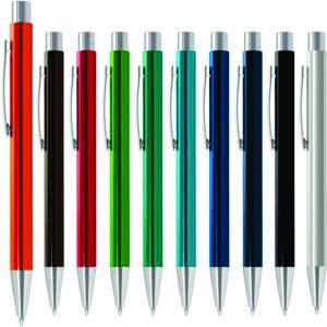 Retractable aluminium ball pen with shiny anodised coloured barrels