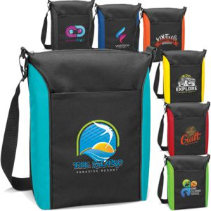 Black cooler bag with contrast colour front panel in a variety of colours, shown with custom printed logos