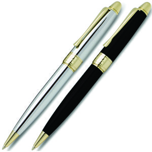 high quality design and finish can be found with these gorgeous metal pens from Pierre Cardin in black or silver with gold colour fittings