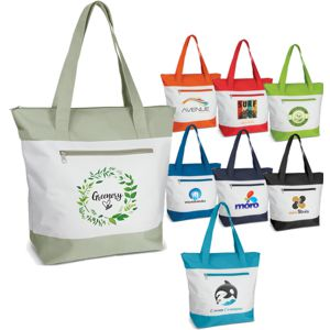 white zippered tote with a variety of contrast colours, shown with custom printed logos