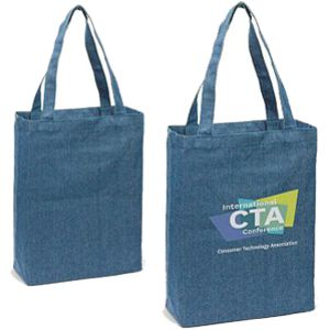 denim tote shown plain and with a custom printed logo