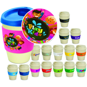 BPA free Bamboo & Melamine coffee cups with silicon band & lids, shown printed with a full colour print