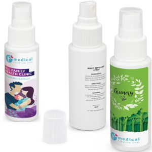 custom printed citronella insect repellent shown with custom printed labels