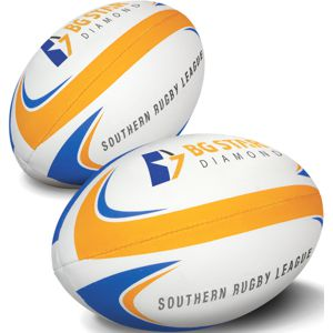 rugby league football custom printed with a corporate logo.