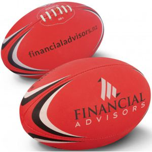 red AFL football custom printed with corporate logo