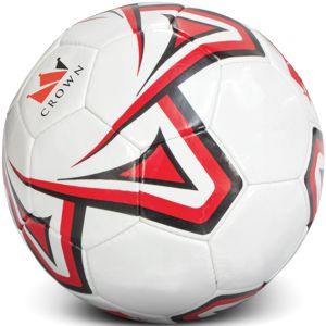 white soccer ball custom printed with red & black corporate logo
