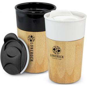 ceramic thermal coffee cup with bamboo contrast trim