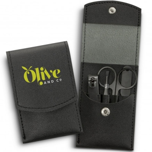 travel manicure set in handy black PU pouch with press stud closure, shown with a custom print