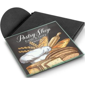 single glass coaster custom printed with a full colour design and shown with the black card gift sleeve