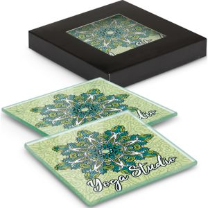 set of 2 square glass coasters custom printed with full colour artwork, shown with the black gift box