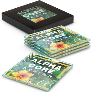 set of 4 glass coasters custom printed with full colour artwork and shown with black card gift box