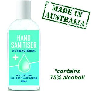 125ml hand sanitiser in clear bottle, printed wtih your logo in CMYK full colour