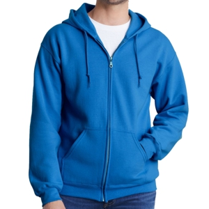 blue Gildan Hoodie shown worn