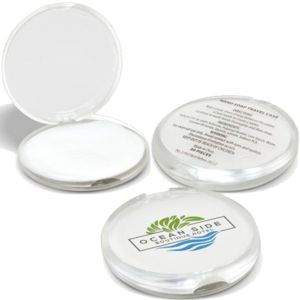 round flip open compact contains 30 sheets of soap, custom printed