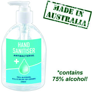250mlAustralian Made hand sanitiser in a clearn plastic bottle, we can decorate them with your logo for you.