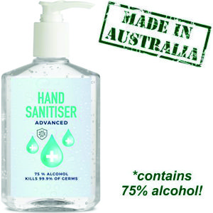 250ml clear pump bottle of Australian made hand sanitiser, custom decorated with any corporate artwork