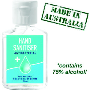 30ml squeezy bottle of hand sanitiser, made in Australia. Contains 75% alcohol