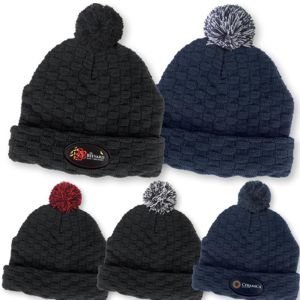 unique texture knited beanie with vaious coloured pom poms