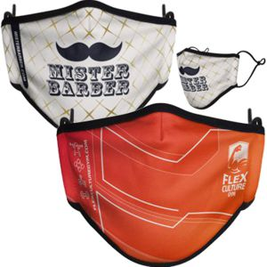 custom full colour printed polyester mask with double layer cotton lining, toggle adjustable straps
