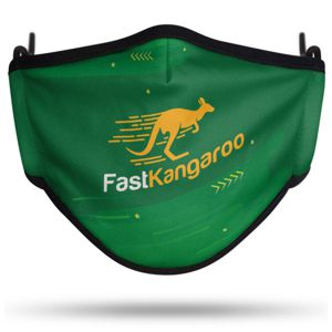 Australian made face mask custom printed with a green & yellow kangaroo design