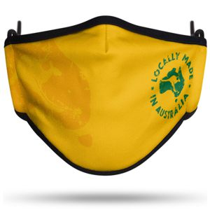 Australian made fabric mask, custom printed in bright yellow