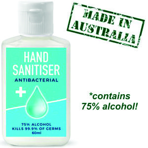 60ml bottle of custom printed hand sanitiser in a handy squeezy bottle with full colour print label