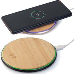 bamboo wireless charger shown with phone and 2 different light charging colours