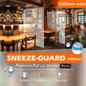 transparent pull up banner, 1000mm wide shown in restaurant