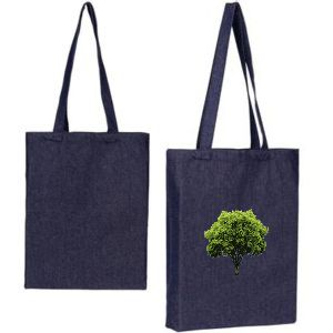 denim tote bag shown plain and also with a custom printed logo