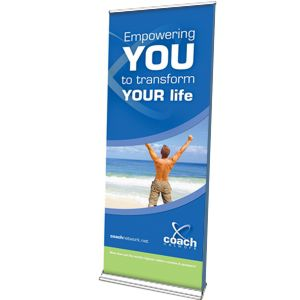 double sided banner with silver base