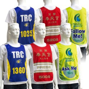 full colour sublimation printed vests, printed with numbers or names