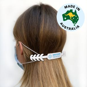 white PVC face mask adjustor clip custom printed with logo