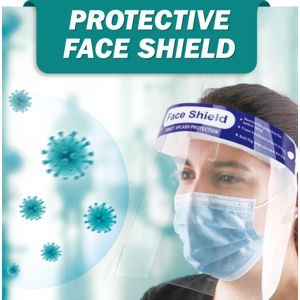 safety face protection shield with soft head band, elastic back & folg proof shield