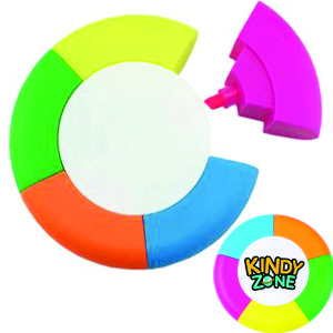 round highlighter with 5 different highlighter pen that we can brand with your logo