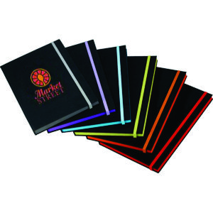 range of black A5 hardcover notebooks with contrast elastic & matching colour paper edges