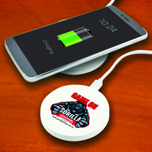 wireless phone charger made from wheat fibre, shown with a custom printed logo