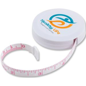 round white tape measure with custom logo, red printing for measurements