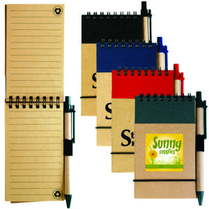 enviro A6 size pocket notebook, spiral bound, made from natural recycled card, includes a matching pen