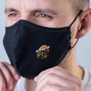 black fabric reusable face mask with custom printed logo