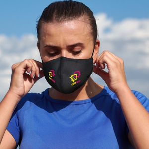 3 layer poly cotton face mask shown worn with custom printed logo